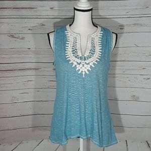 Embellished flowing tank top small loose fit